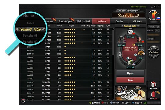 Online Poker Featured Tables